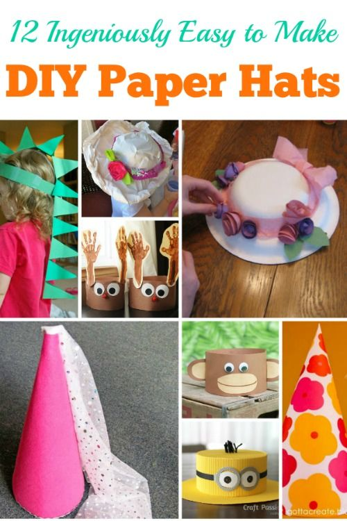 12 absolutely ingenious Easy to Make DIY Paper Hats. These DIY paper hat crafts are simple to make with easy, everyday items like construction paper, cardstock,
