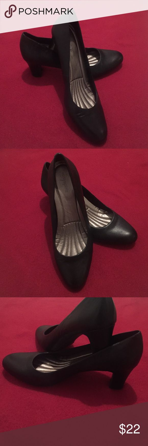 Easy Spirit heels ! Cute simple and OH SO comfortable sole! Leather black heels that can be worn on a casual day all day long as well as a business meeting or a conference weekend ! Perfect for flight attendants! Shoe says 9 but fits like a 8,8 1/2 for sure! Easy Spirit Shoes Heels