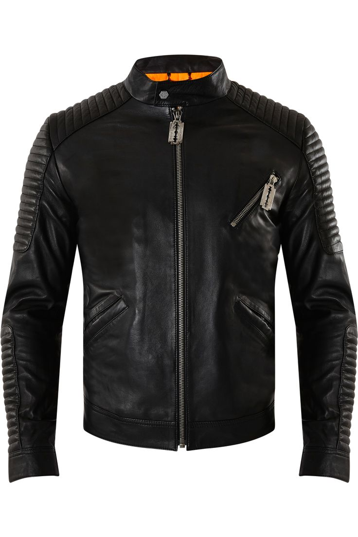philipp plein leather jacket simplicity men 39 s. Black Bedroom Furniture Sets. Home Design Ideas