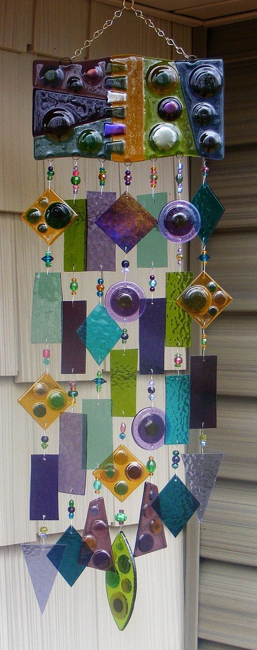 Kirks Glass Art Fused Stained Glass Wind Chime windchime -  Circles in the Square.