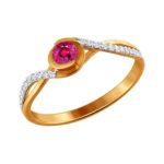 Anillo de oro con rubí y diamantes