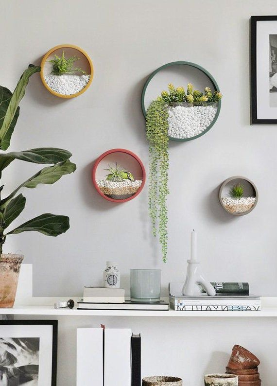 Bright Hanging Planter Round Wall Planter Hanging Terrarium Geometric Terrarium Wall Vase Wall Plant Holder Hanging Wall Planter In 2020