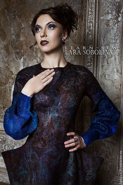 Купить Валяное платье Diti - коричневый, абстрактный, готика, готическое платье, готическая одежда