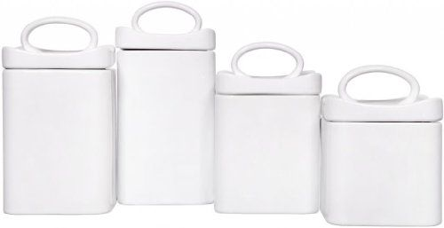Amazon.com: Durable Set of Four Square White Ceramic Canisters with Lids for coffee and tea storage on your kitchen coffee cart #AmazonPrime