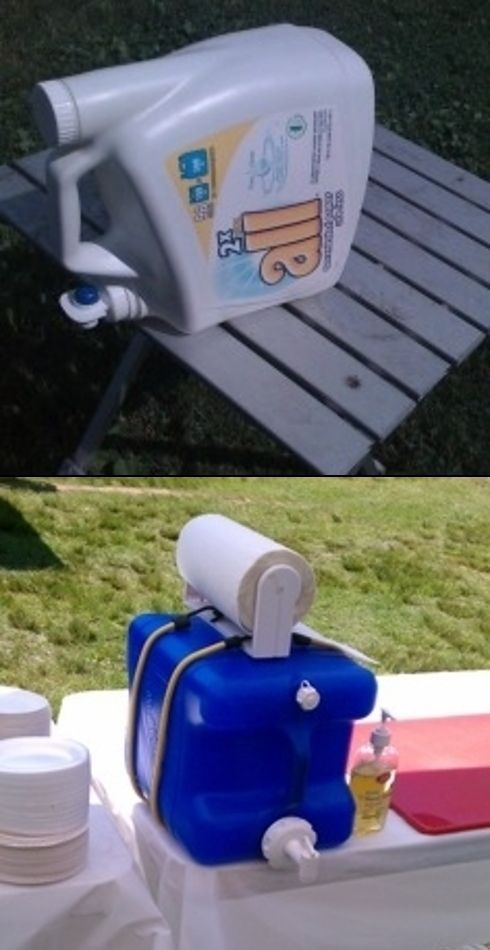 Create a hand washing station out of recycled laundry detergent container. Just fill with a little soap & water. Genius!