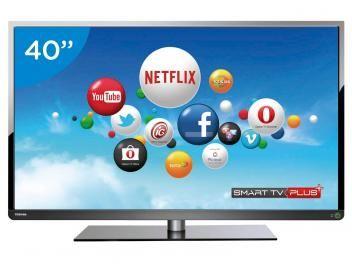 """Smart TV LED 40"""" Semp Toshiba 40L5400 Full HD - Conversor Integrado 3 HDMI 2 USB Wi-Fi. São 1920x1080 pixels de resolução que transmitem com perfeição cada atualização de imagem que você vê na tela. É o seu cinema em casa!"""