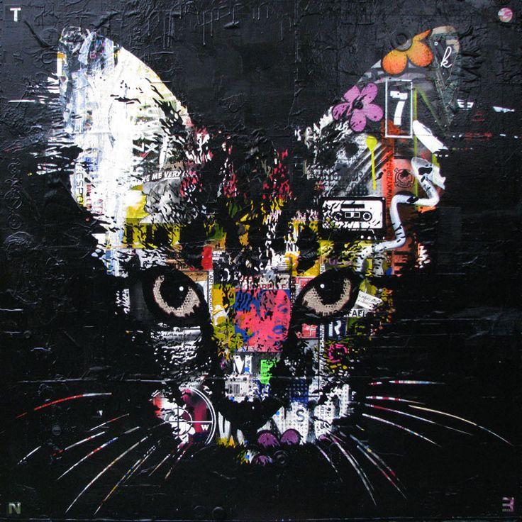 """ASMATEEK..Technique mixte sur toile. 122 x 122 cm / Mixed media on canvas. 48'' x 48"""". Août 2014, august. Artiste-peintre: Tone. www.t-pakap.net"""