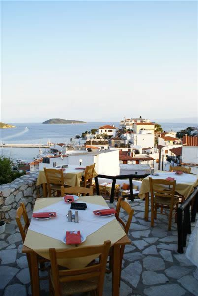 The Windmill restaurant in Skiathos