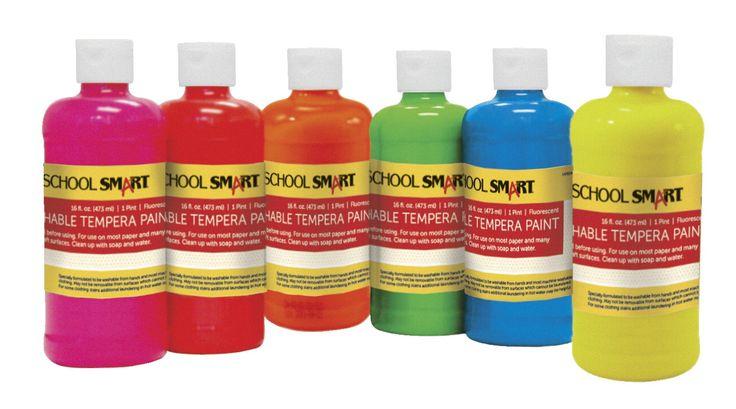 School Smart Non-Toxic Washable Tempera Paint Set, 1 pt 1 pt Plastic Bottle, Assorted Fluorescent Color, Set of 6