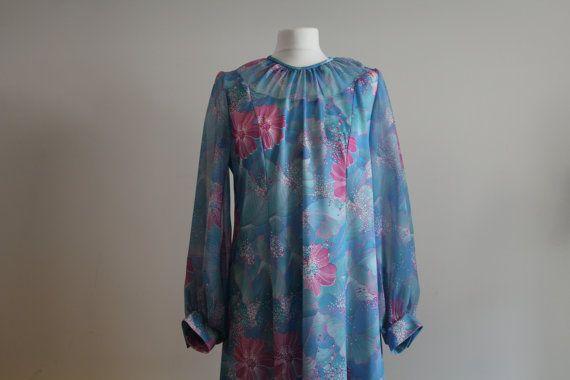 Stunning Vintage 1960's Blue Floral Shift dress Dress (Size 12 - 14(UK))