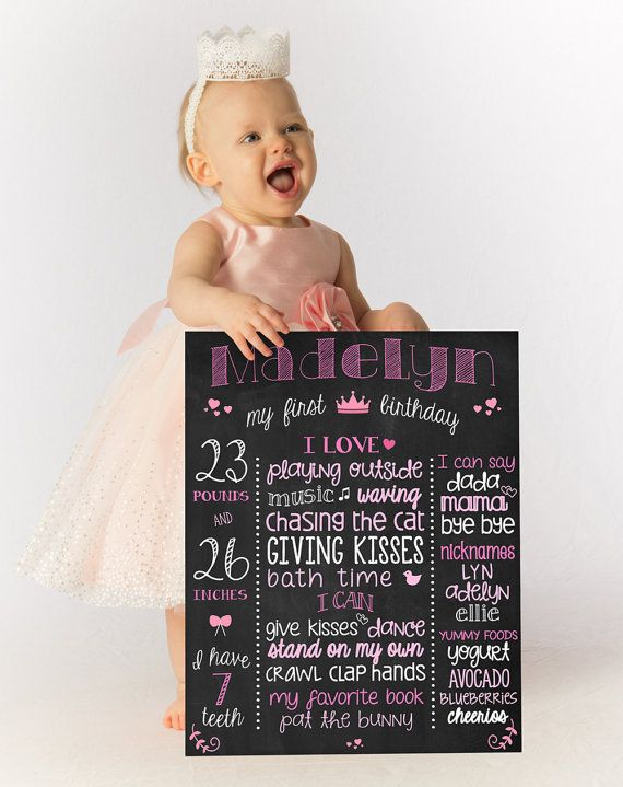 Glitter Birthday Board 1st Birthday Stats Poster by ChalkType