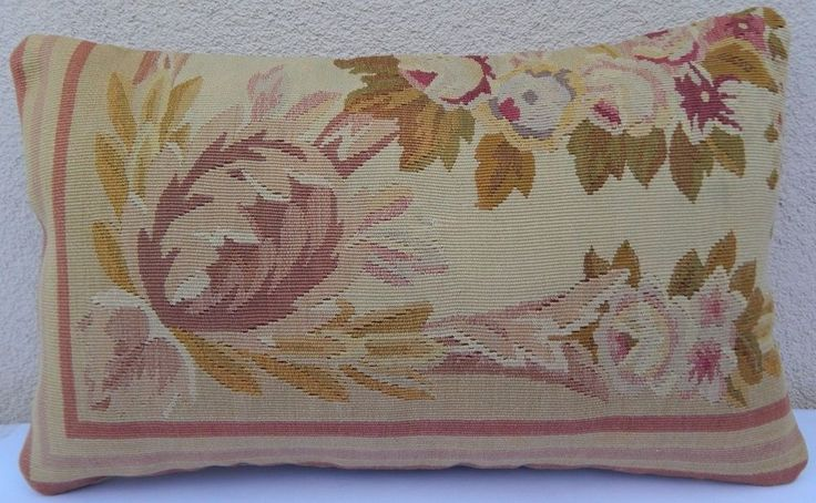 Aubusson French Tapestry Pillow Wool Chair Sofa Bed Couch Bench Cushion 12x20'' #Handmade #Turkish