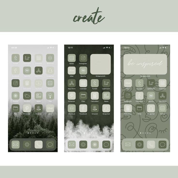 300 Green App Icons, Neutral Green Aesthetic Boho iPhone ...