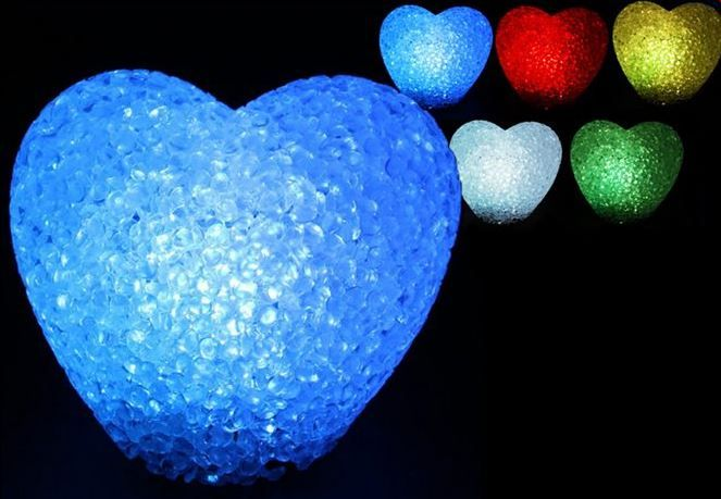 LED heart shaped lights are a great way to enhance a room or to put around a spa pool.  They change colours and look absolutely stunning at night.
