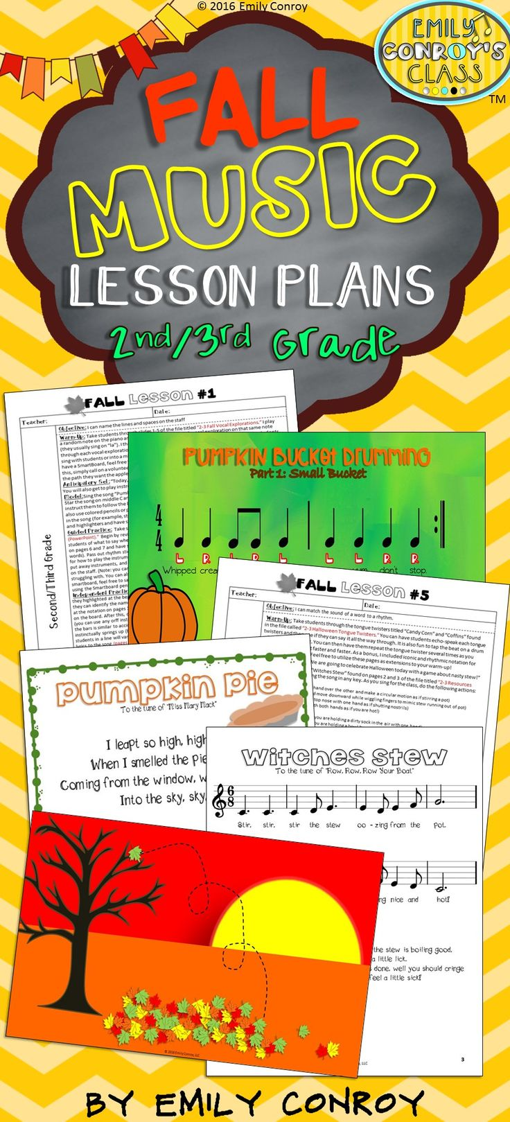 These lessons include 6 fall-themed music lesson plans for second or third grade music students along with 150 pages of resources! Each lesson includes the following sections: objective, warm-up, anticipatory set, model, guided practice, and independent practice. They even include 2 original songs with notation and lyric sheets as well as two original bucket drumming pieces!
