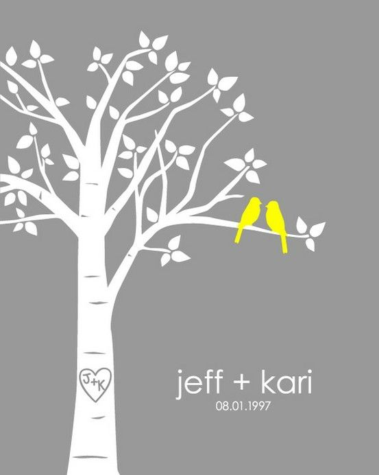 adorable - wish I could figure out a way to DIY one with our names.  love the yellow birds!  and the initials on the tree!