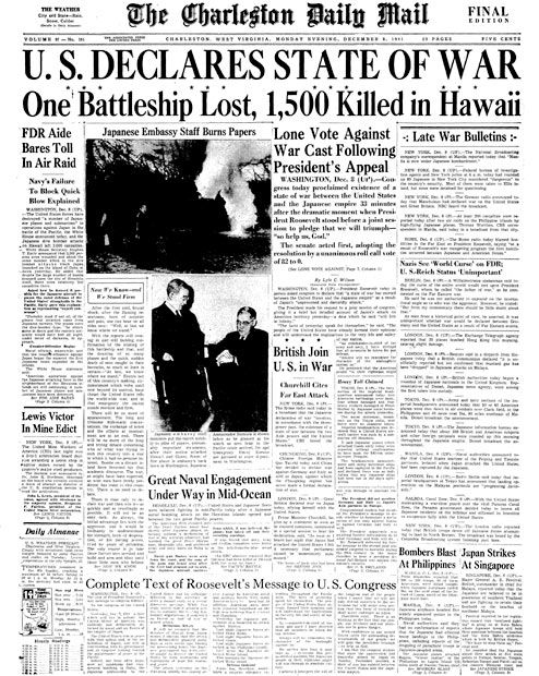 Front page of a 1941 US newspaper about the Japanese raid on Pearl Harbor