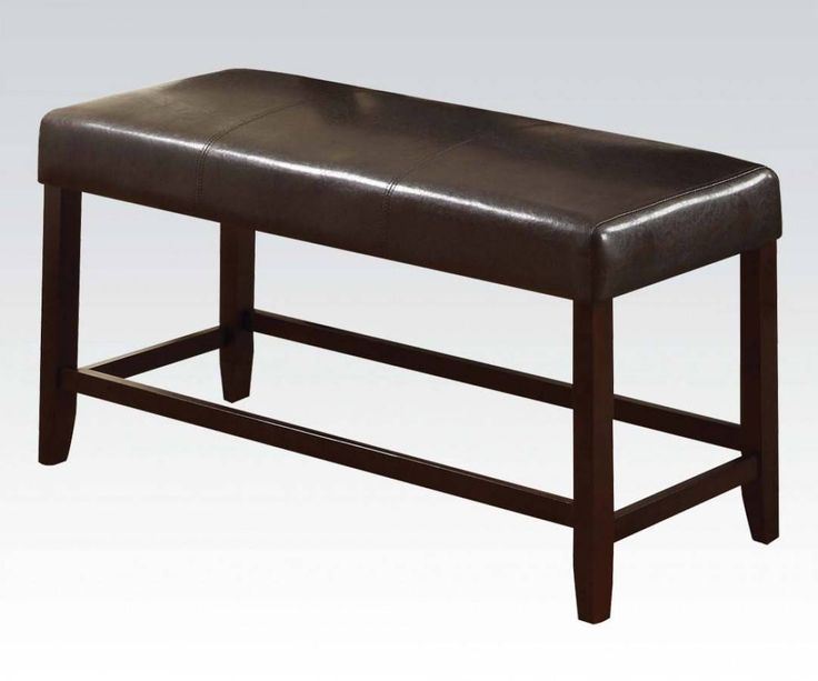 Idris Espresso Wood PVC Counter Height Bench   By Acme Furniture