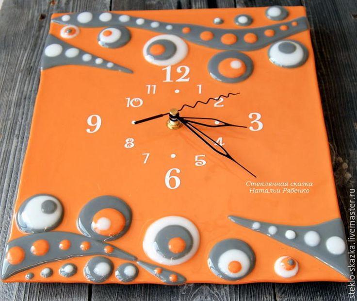 """Купить Часы настенные, фьюзинг """"По мотивам Климта"""" - рыжий, серый цвет, часы"""