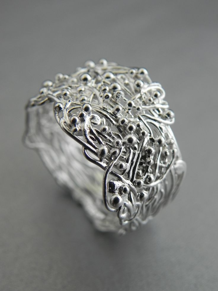 """Fairy"" Ring. Silver wire woven together and dotted with tiny silver balls. Handcrafted by Quench & Pickle."
