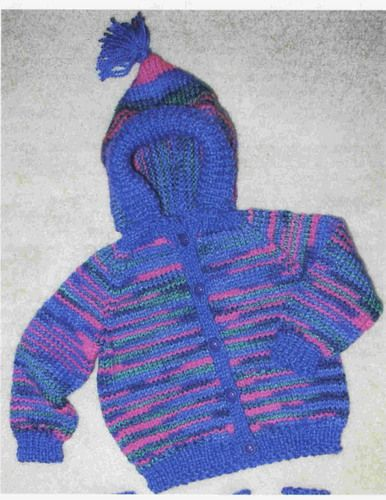 Free Knitting Patterns For Childrens Clothes : Free Knitting Pattern - Toddler & Childrens Clothes: Striped Hoody baby...