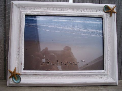 Distressed Crackle Painted White Beach Style Frame with Blue Limpet Shells and Starfish with Choice of Coastal Photography Print