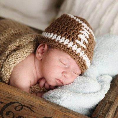 NEWBORN BABY BOY CROCHET FOOTBALL HAT