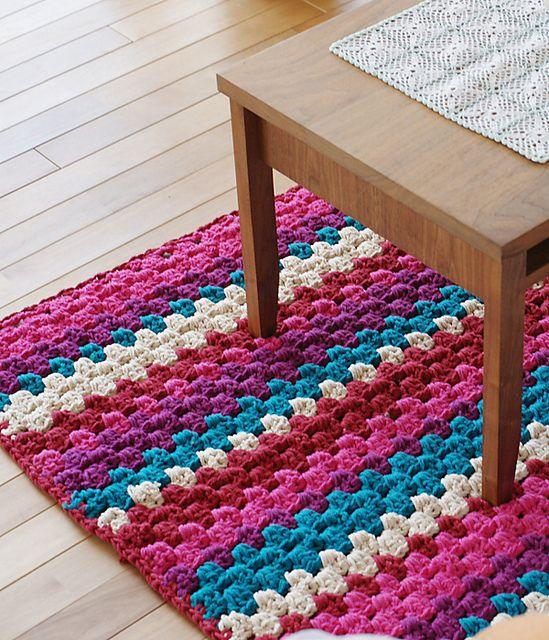 #Free pattern; crochet; easy rug  ~~