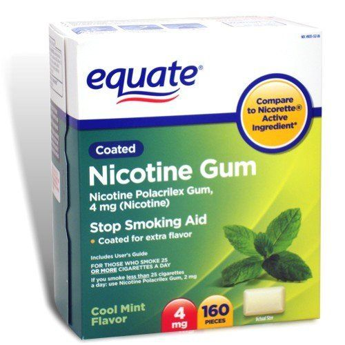 Equate - Nicotine Gum 4 mg, Coated, Cool Mint Flavor, 160 Pieces by Equate. $39.90. Compare to Nicorette Gum active ingredient.. Coated Gum.. Cool Mint Flavor.. Nicotine Gum 4 mg is for those who smoke more than 25 cigarettes a day.. Nicotine Gum 4 mg is for smokers who smoke 25 or more cigarettes a day. To reduce withdrawal symptoms, including nicotine craving, associated with quitting smoking. To increase your success in quitting: You must be motivated to quit. Use enough ...