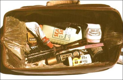 """chasehambonehammond: """" Buddy Holly's Overnight Bag Found at Clear Lake crash site by Buddy's brother Larry Holley. • Roll of adhesive tape • Toothbrush • Half-used tube of Colgate toothpaste • Hairbrush • Comb • Jar of Dusharme lanolin hair sheen •..."""