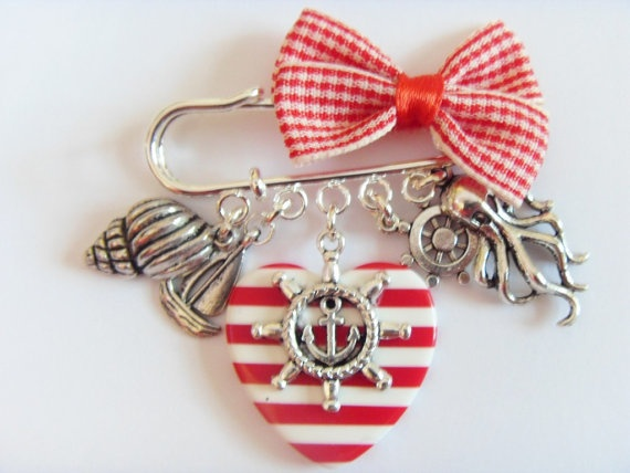 Gingham Bow and Nautical Themed Brooch by JellyBellyJewellery, $24.00