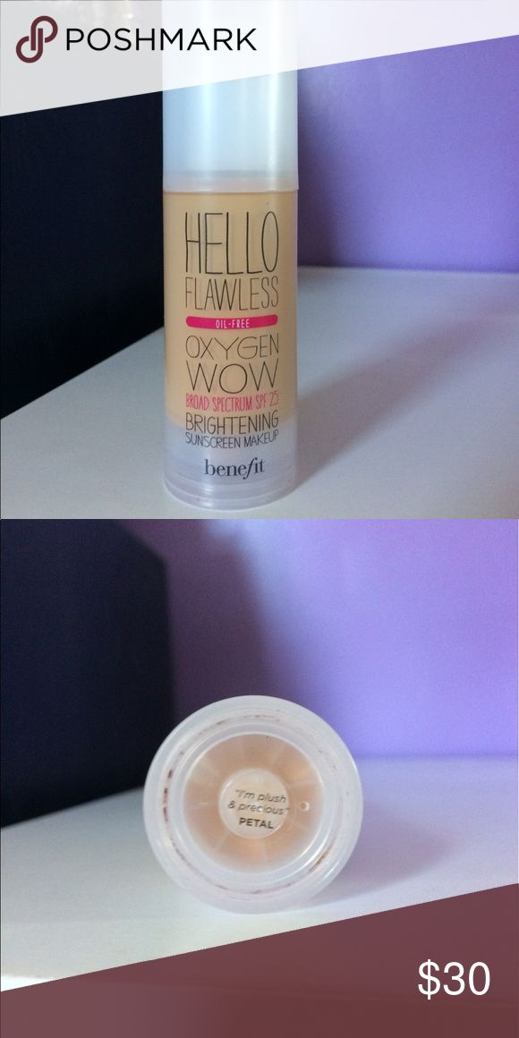 Benefit Foundation Hello Flawless Foundation with SPF By Benefit Cosmetics. Used one time, It's been cleaned. Accepting reasonable offers! Bought for $36. Bundle to Save 20% Benefit Makeup Foundation