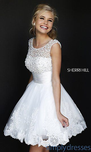 Short High Neck White Sherri Hill Dress at SimplyDresses.com