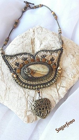 Picture Jasper Beadwork Necklace by SugarfonoDesign on Etsy
