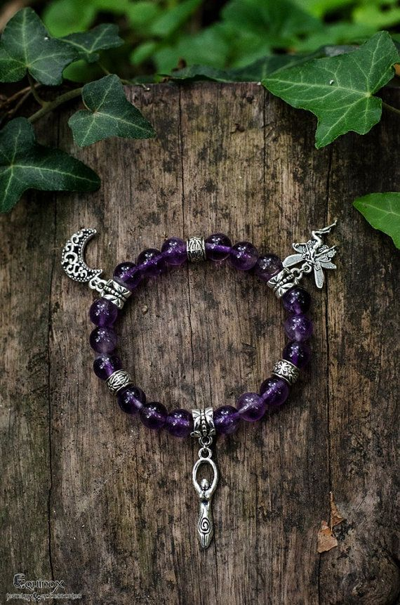 Fantasy amethyst bracelet  goddess moon and by VictoriaEquinox