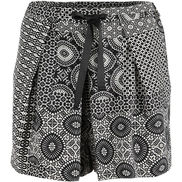 Dex Black & Ivory Patchwork Pleated Shorts ($14) ❤ liked on Polyvore featuring shorts, ivory shorts, lightweight shorts, stretchy shorts, dex and shiny shorts
