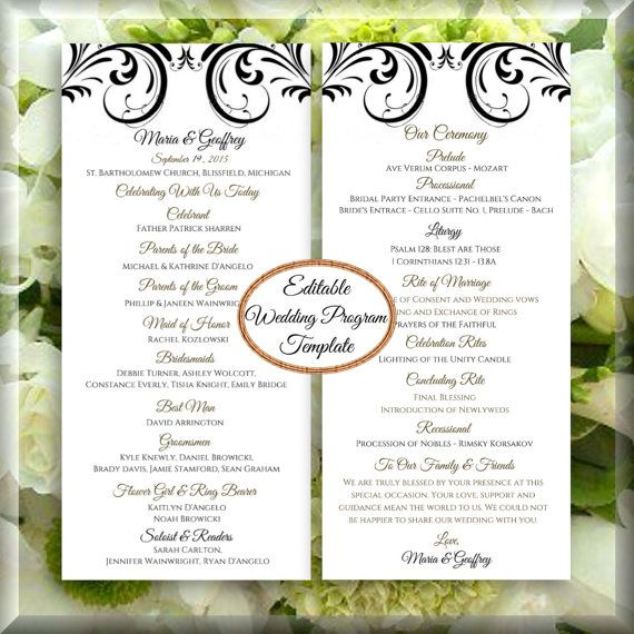 26 best DIY Wedding Program Templates images on Pinterest | Place ...