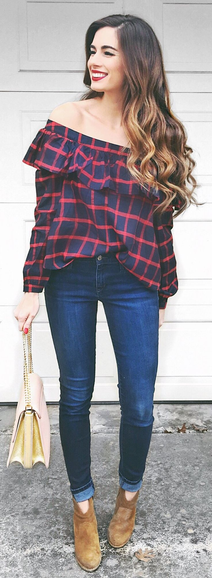 #winter #fashion /  Printed Black & Red Off Shoulder Top / Navy Skinny Jeans / Beige Suede Booties