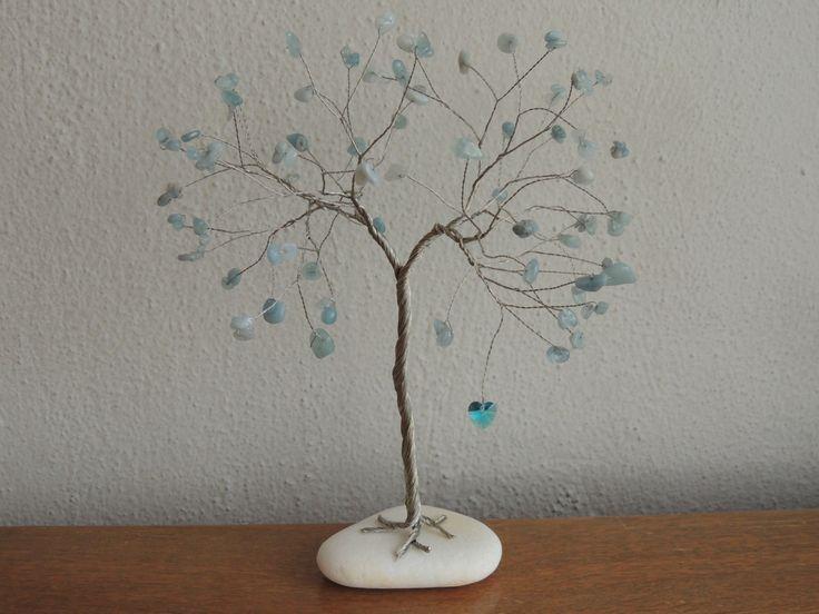 March Birthstone gift, Large Aquamarine gemstone tree sculpture, 19th wedding…