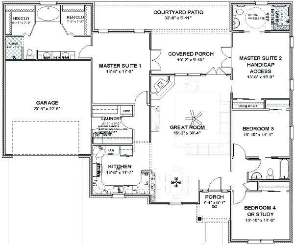 Single Level House Plans With Two Master Suites Fascinating 6 Bedroom 2 Master Suite House Pla Single Level House Plans Master Suite Floor Plan New House Plans
