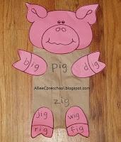 """Farm Animal Theme - pig  Learn the """"ig"""" word family.    A, Bee, C, Preschool"""