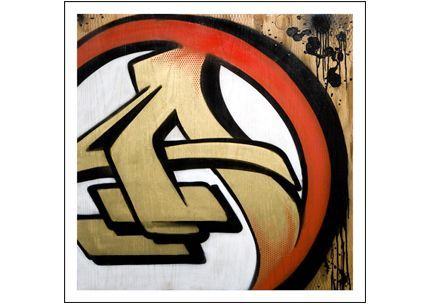 Letter A Graffiti by RISK- RISK depicts a example of the letter A in graffiti tag throw up street art style. Limited edition Giclée art print artwork by famous graffiti artist RISK.