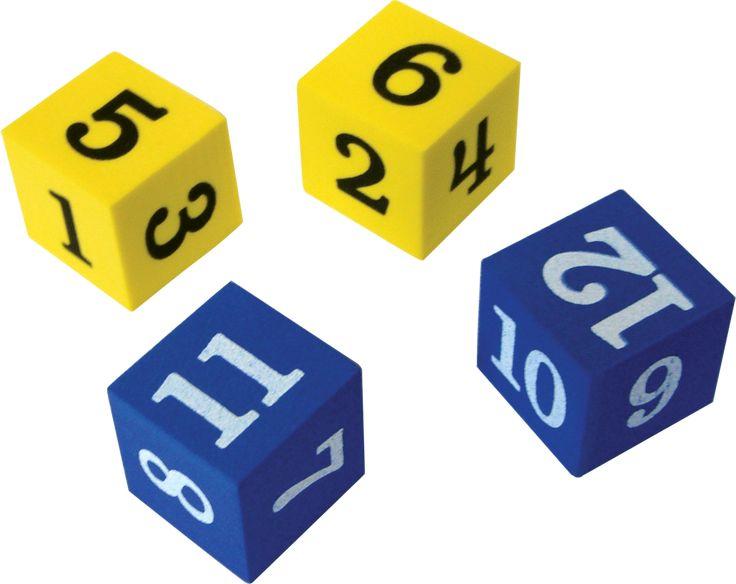 Foam+Numbered+Dice+(Numerals+1-12)