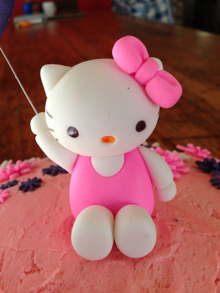 Hello Kitty with balloon fondant cake topper. I also made some holding a daisy.