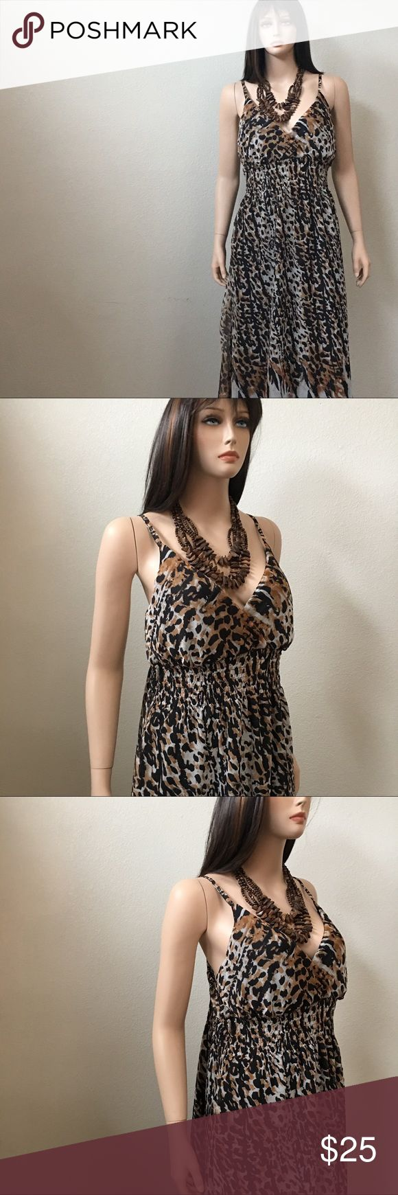 Summer animal print maxi dress by She'sCool 1X New You will look very pretty in this maxi dress by She's Cool . Beautiful animal print polyester , fully lined , surplice bodice and smocking at waistband . Size 1X . Junior . New She's Cool Dresses Maxi