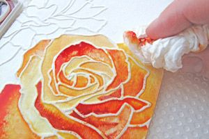Outline in glue. Watercolor paints.