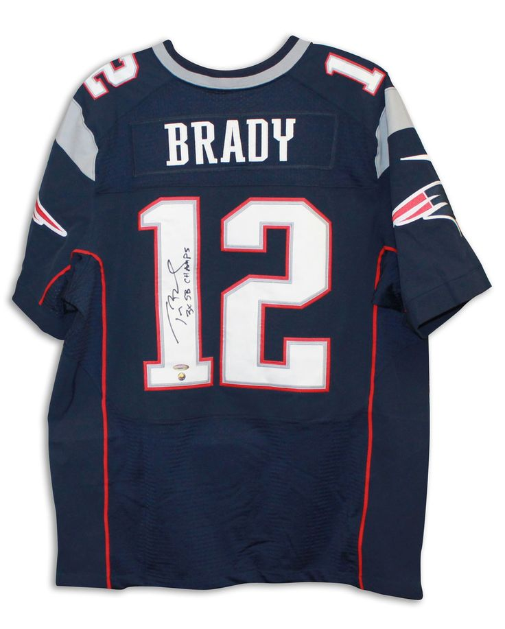 """Tom Brady New England Patriots Autographed Blue Authentic Nike Jersey Inscribed """"3X SB Champs"""""""