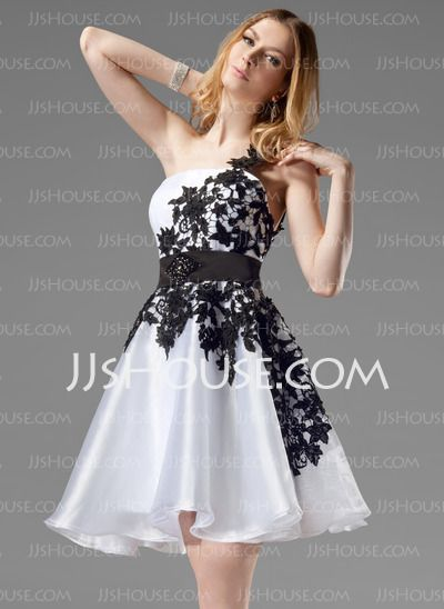 Homecoming Dresses - $132.99 - A-Line/Princess One-Shoulder Short/Mini Organza Satin Homecoming Dress With Lace Sash Beading (022004454) http://jjshouse.com/A-Line-Princess-One-Shoulder-Short-Mini-Organza-Satin-Homecoming-Dress-With-Lace-Sash-Beading-022004454-g4454