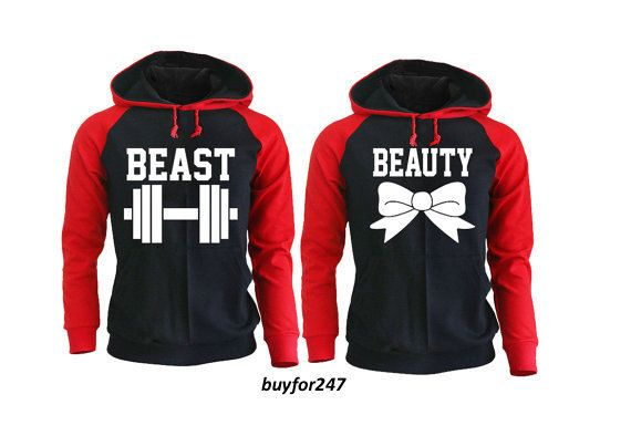 Beast and Beauty Raglan Hoodies for Couples, Fitness Apparels, Couple Sweaters Matching Gym Clothes Pärchen Pullover King Queen Couple Gift by buyfor247 on Etsy