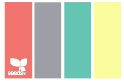 Color palette for my room: coral, gray, turquoise, yellow